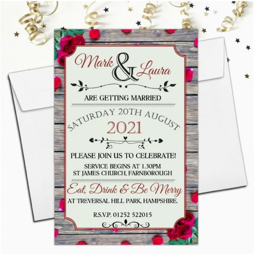 10 Personalised Premium Wedding Invitations Day or Evening N73 Red Roses